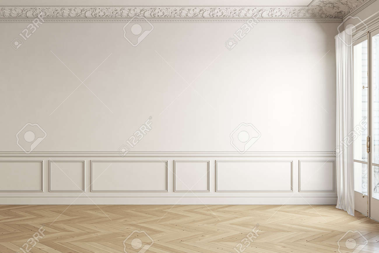 Beige-white classic empty interior with blank wall and moldings. 3d render illustration mock up. - 169924252