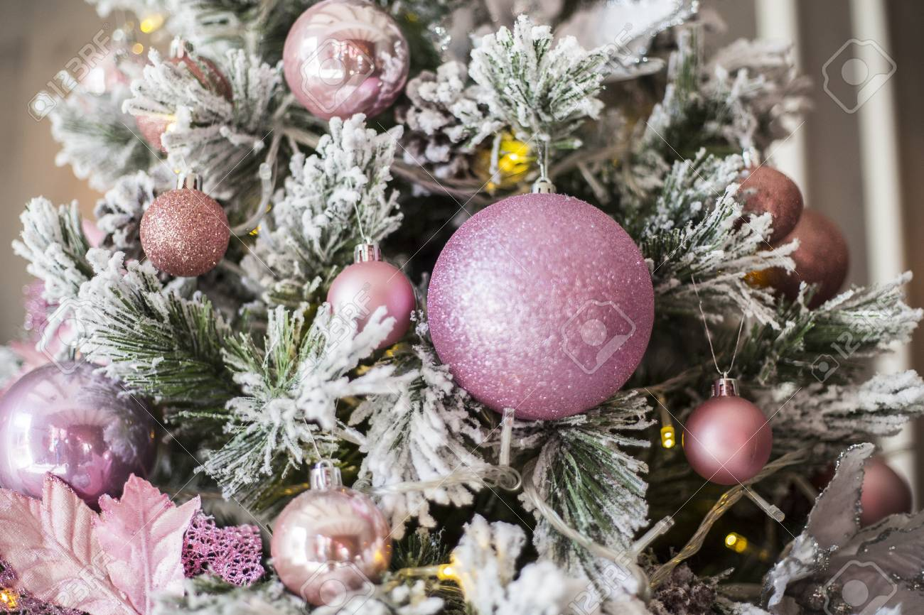 Pink Christmas Tree Decorations In The Form Of Spheres Close Stock Photo Picture And Royalty Free Image Image 116806664
