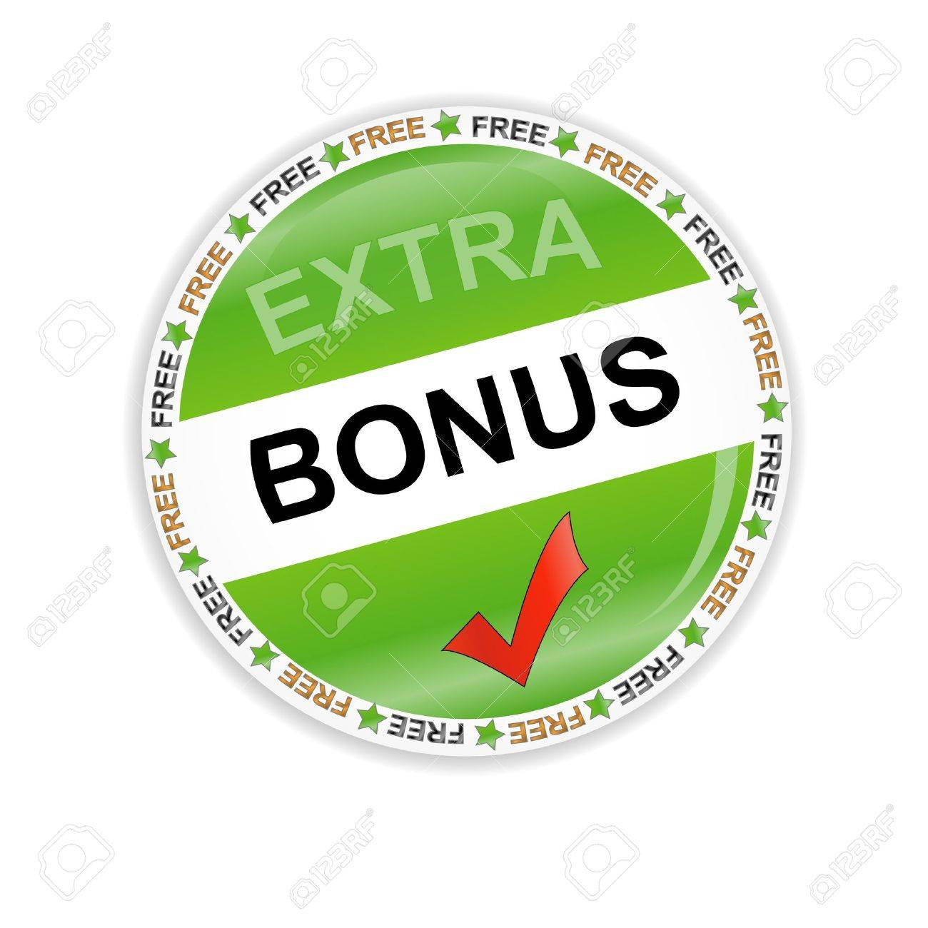 Green bonus symbol located on a white background Stock Vector - 12682190