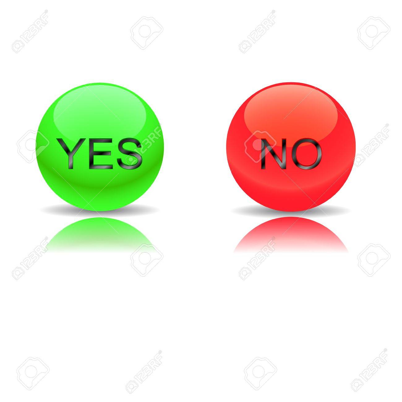 Buttons yes and no on a white background Stock Vector - 12682222