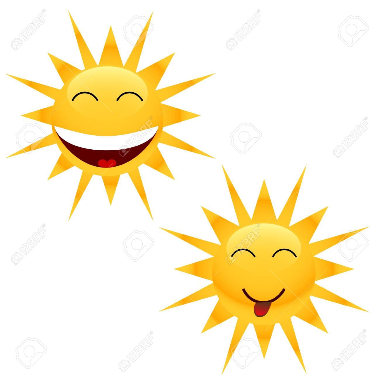 Two cheerful sun located on a white background Stock Vector - 12682219