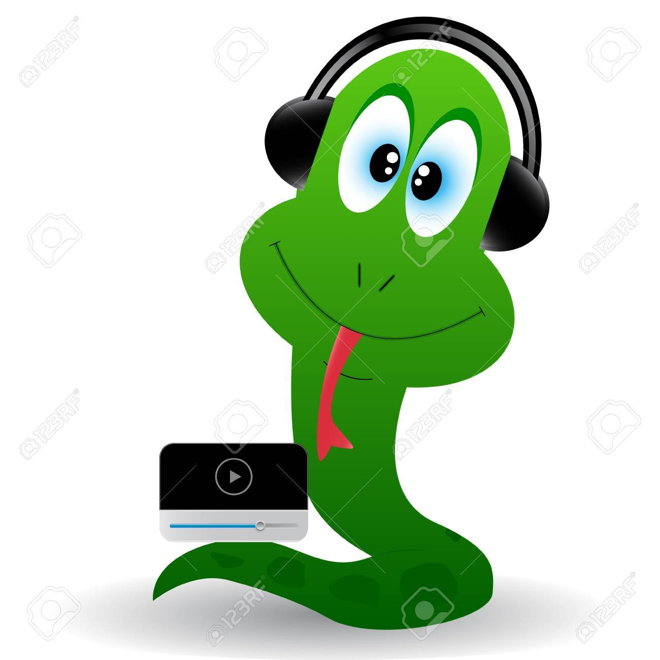 Cub of a snake in earphones and with a player Stock Vector - 12963425