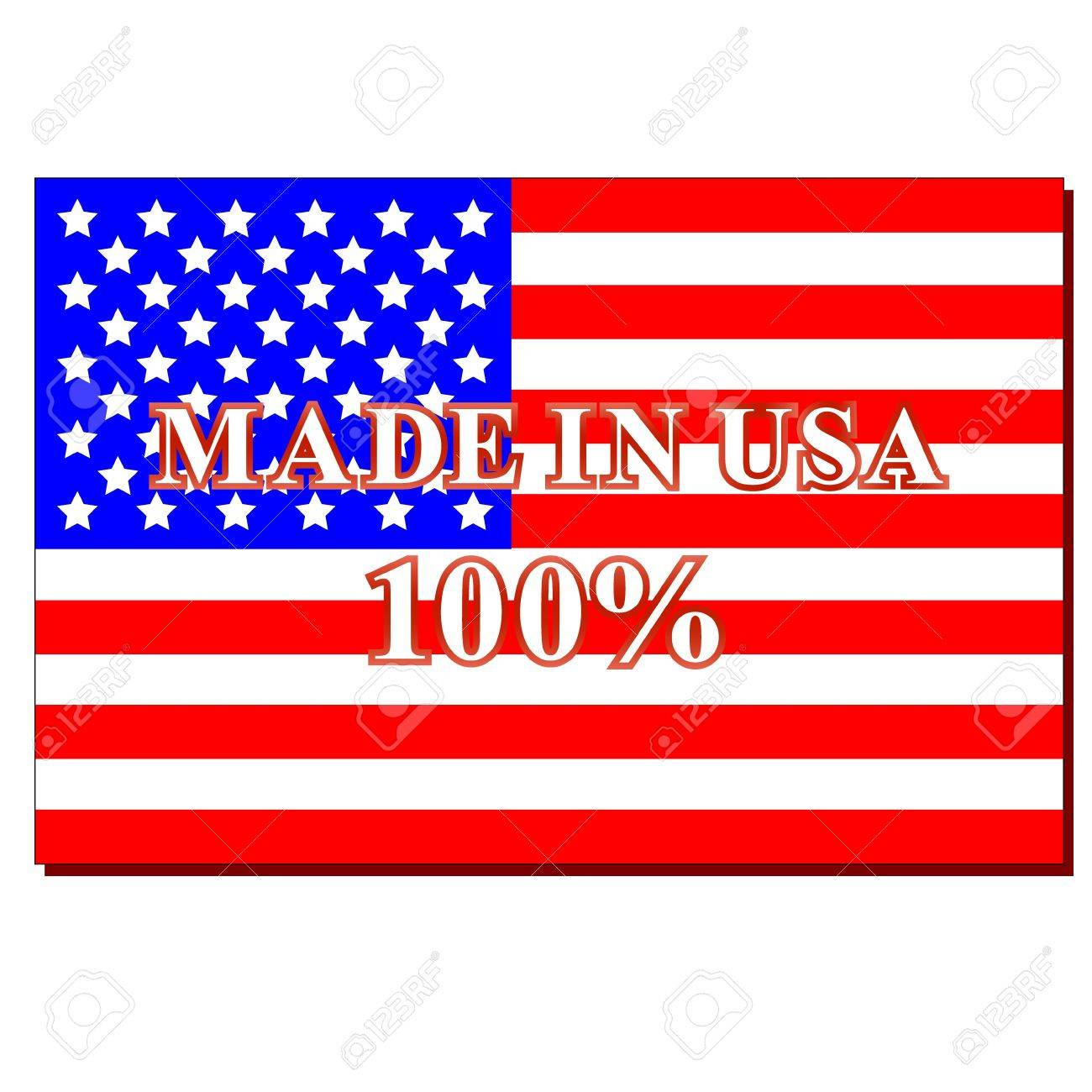 American symbol and text made in usa on a white background Stock Vector - 13149074