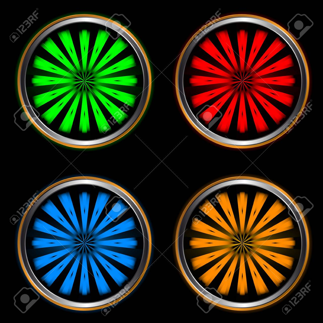 Four multi-colored web icons on a black background Stock Vector - 14049760