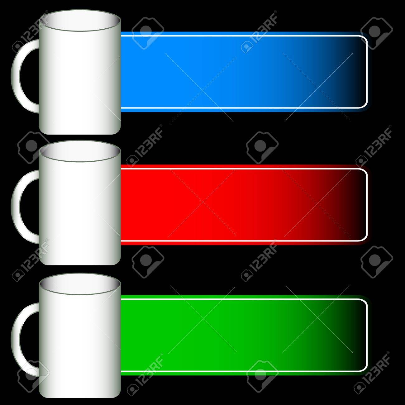 Three web  icons of a mug and forms for the text Stock Vector - 14554810