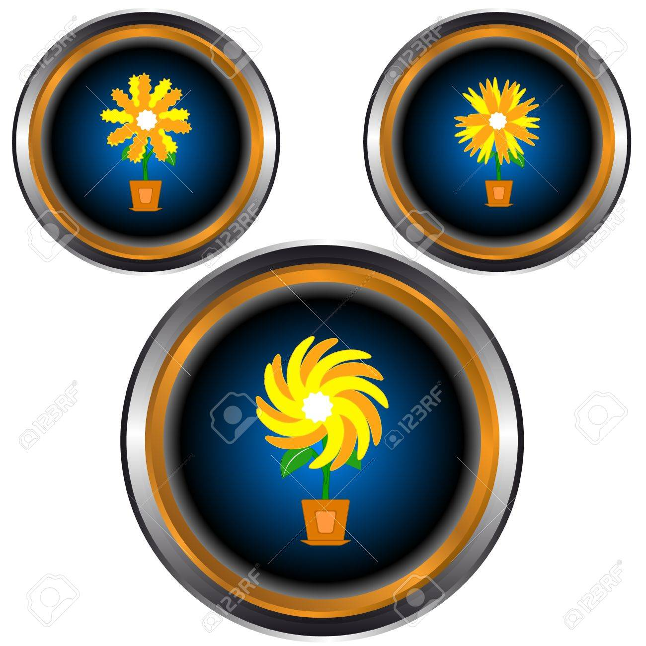 Web icons with three different flowers in pots Stock Vector - 14554816