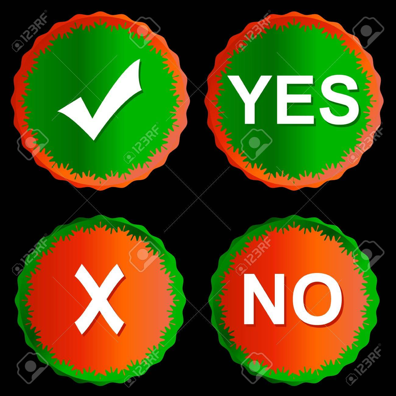 Buttons yes and no on a black background Stock Vector - 14589437