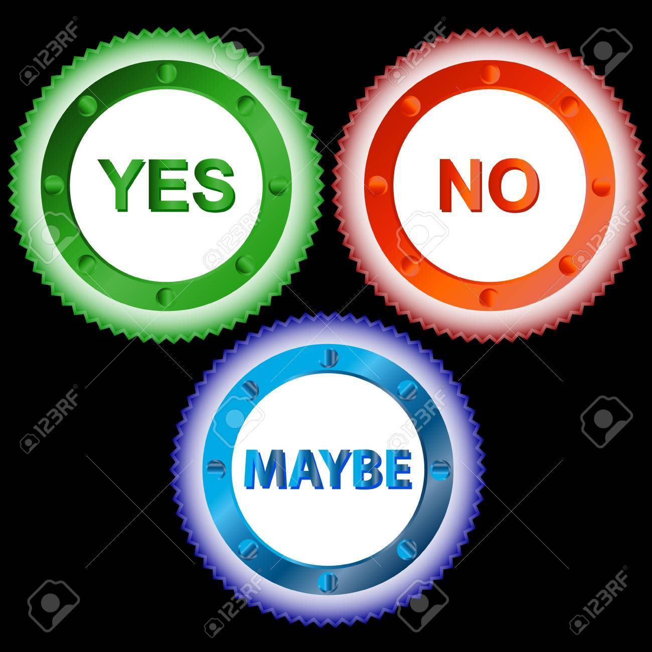 Three colorful signs reading Yes, No and Maybe Stock Vector - 15064888