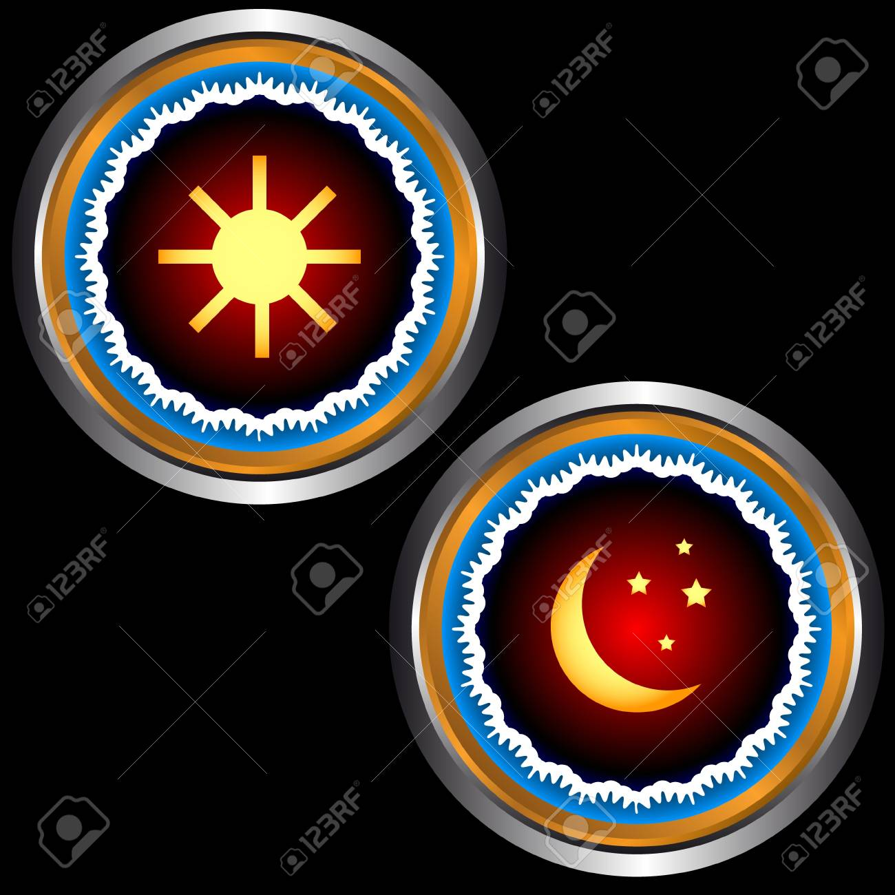 Icons of day and night in unique style Stock Vector - 15437886