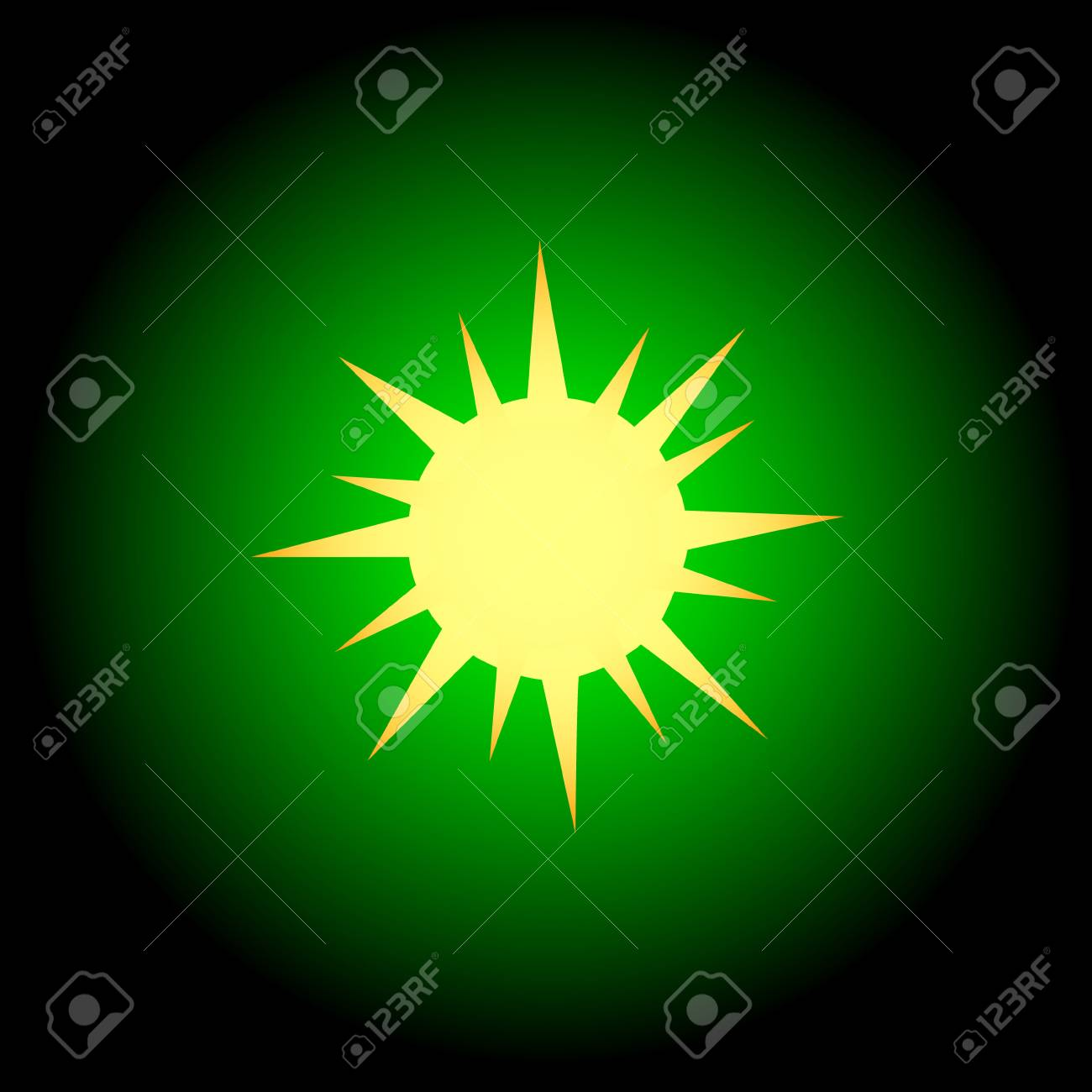 Sun icon located on a green background Stock Vector - 15735741