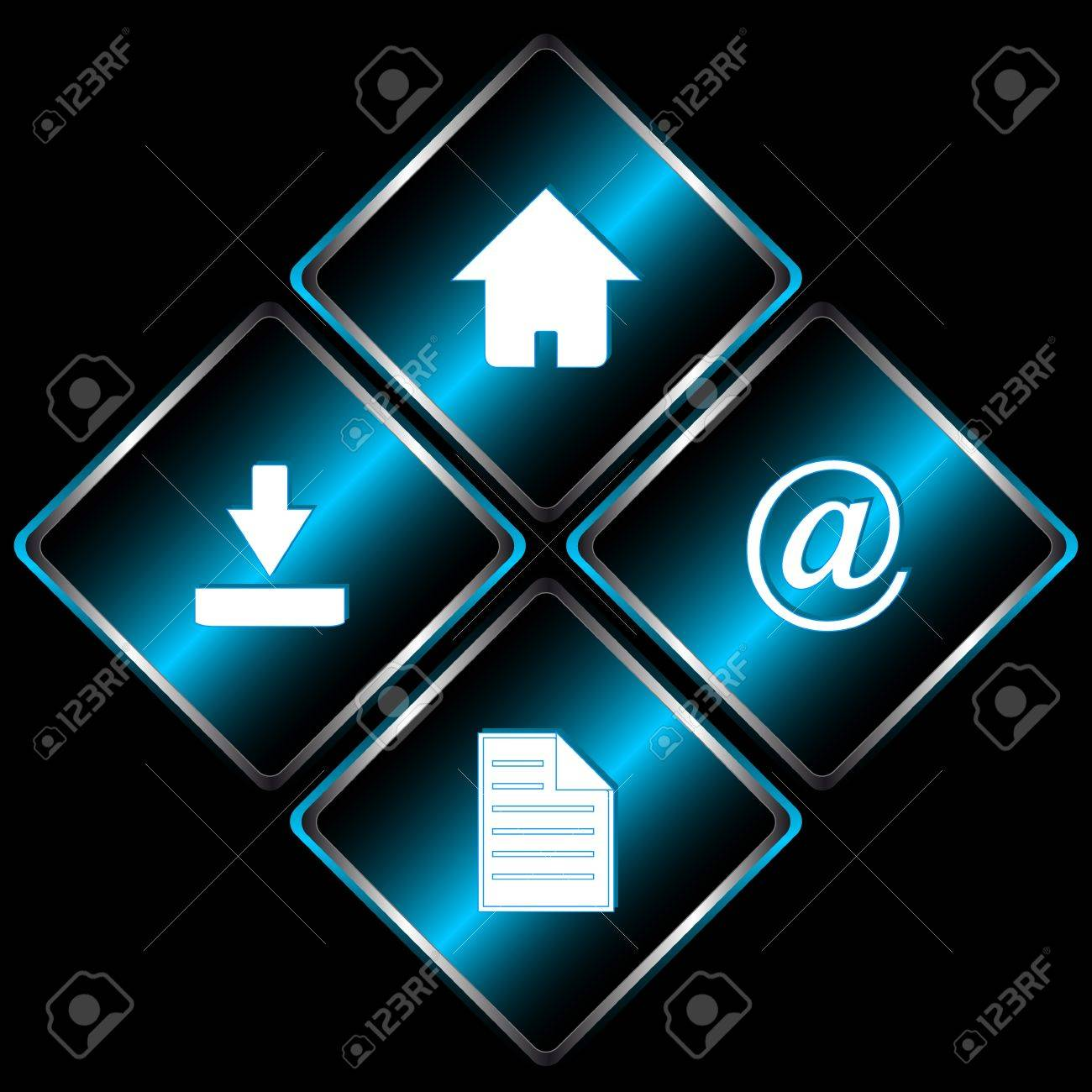 Four web icons with symbols mail document download and home