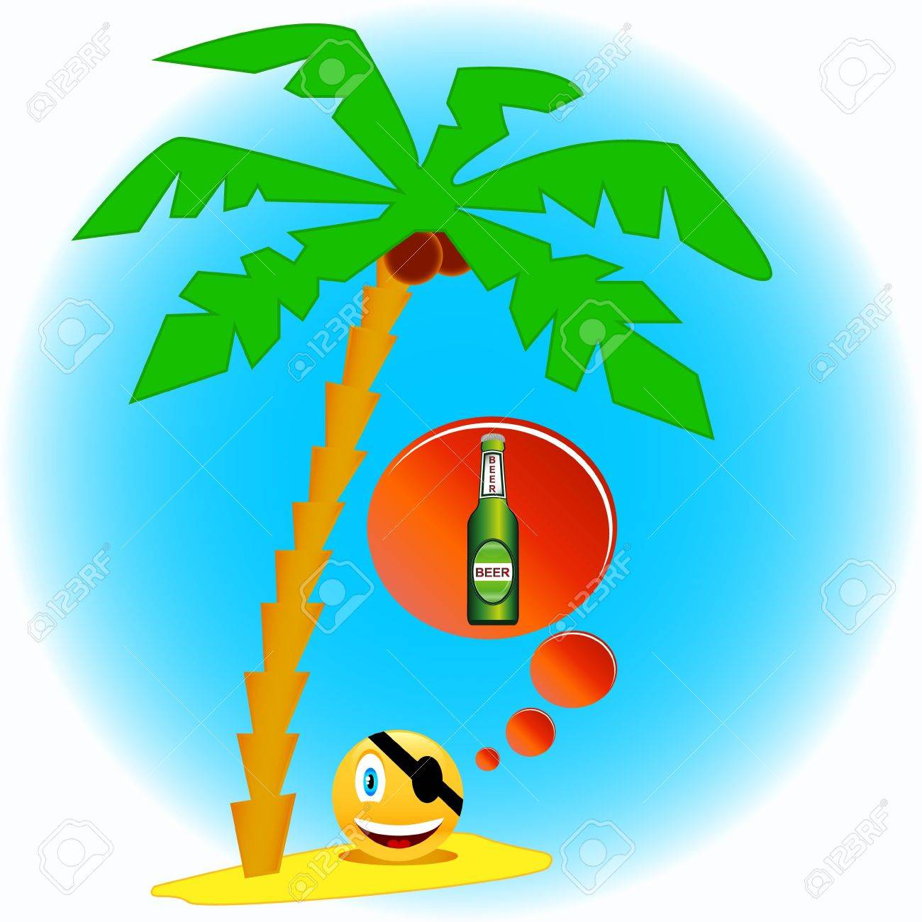 The pirate under a palm tree with cocoes Stock Vector - 16005644