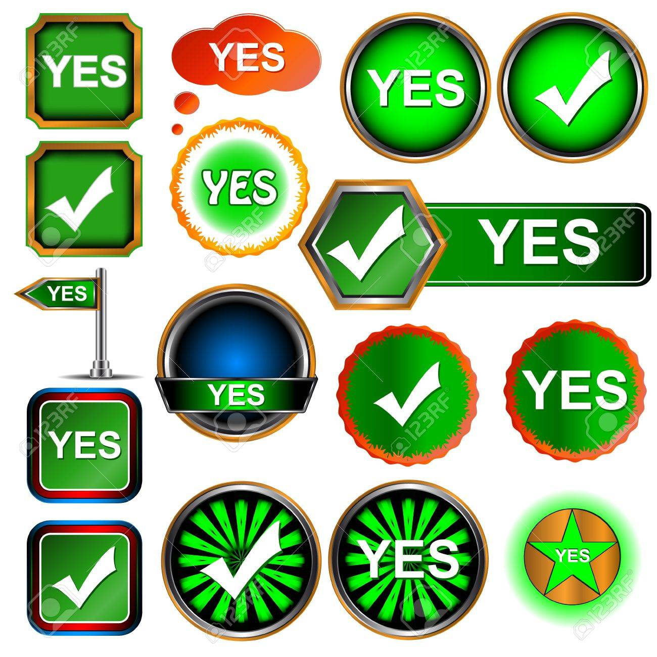 Big yes icons set on a white background Stock Vector - 16259031