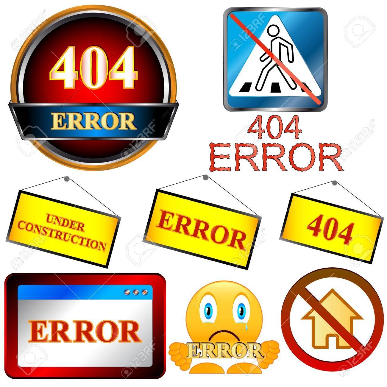 Error symbol set on a white background Stock Vector - 16259059