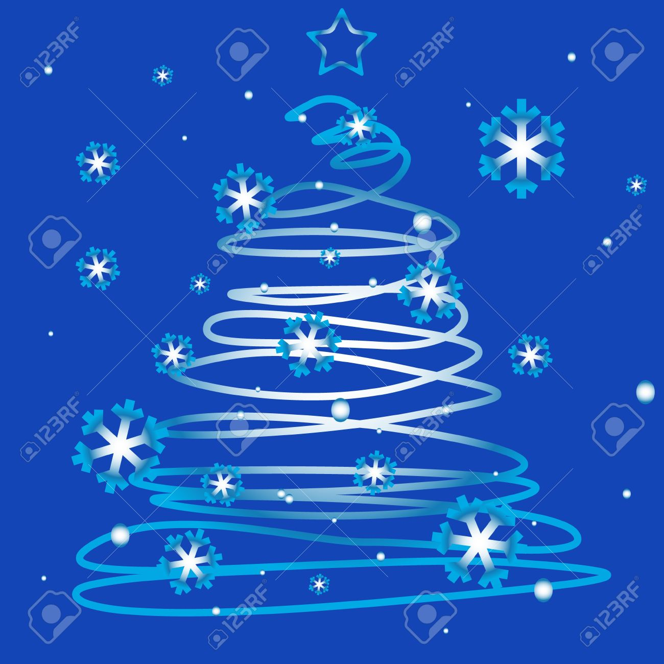 Unique Logo Of Merry Christmas On A Blue Background Royalty Free ...