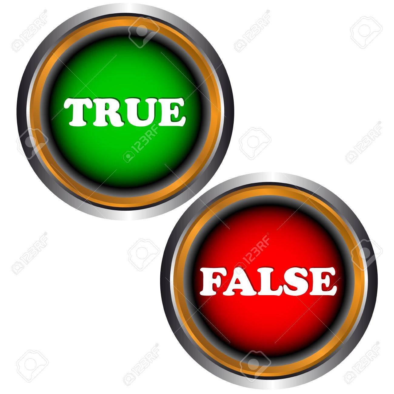 Buttons true and false on a white background Stock Vector - 16900277