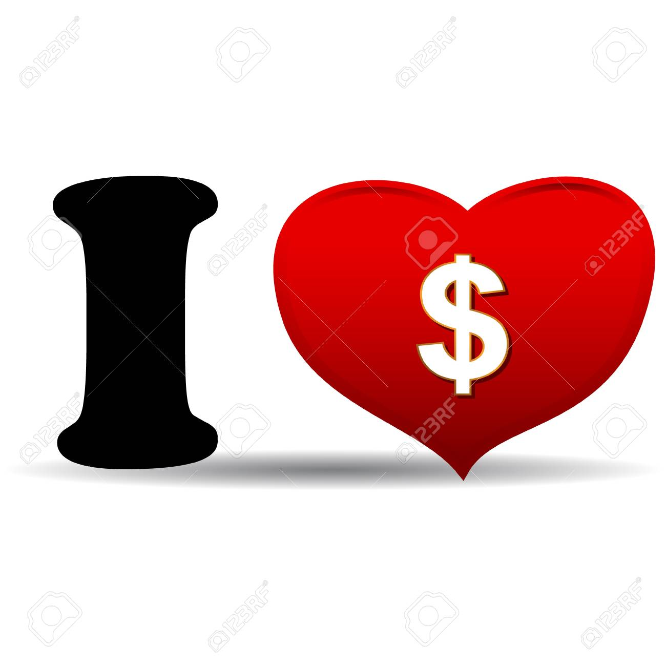 I love dollar concept on a white background Stock Vector - 17309325