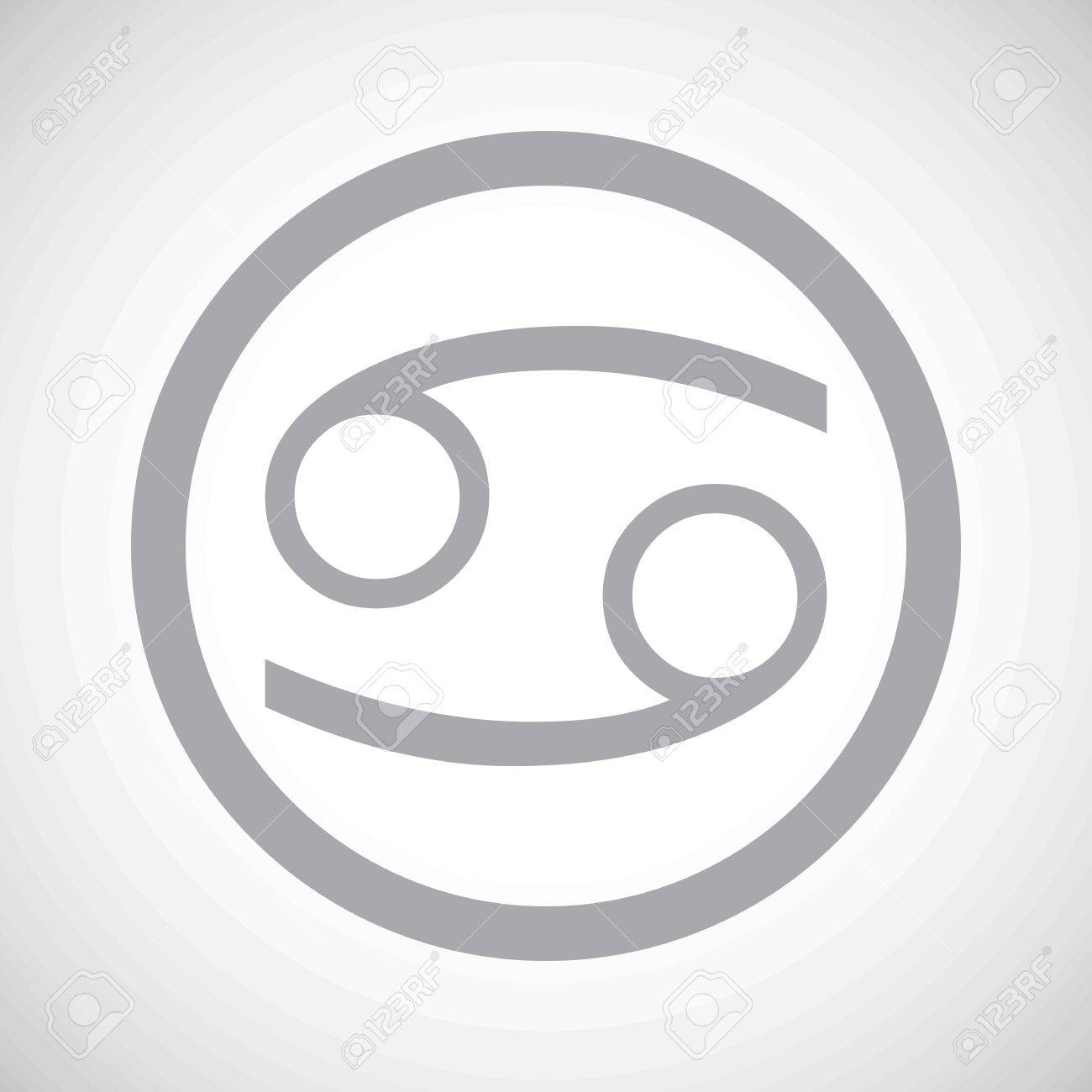 Grey Cancer Zodiac Symbol In Circle On White Gradient Background