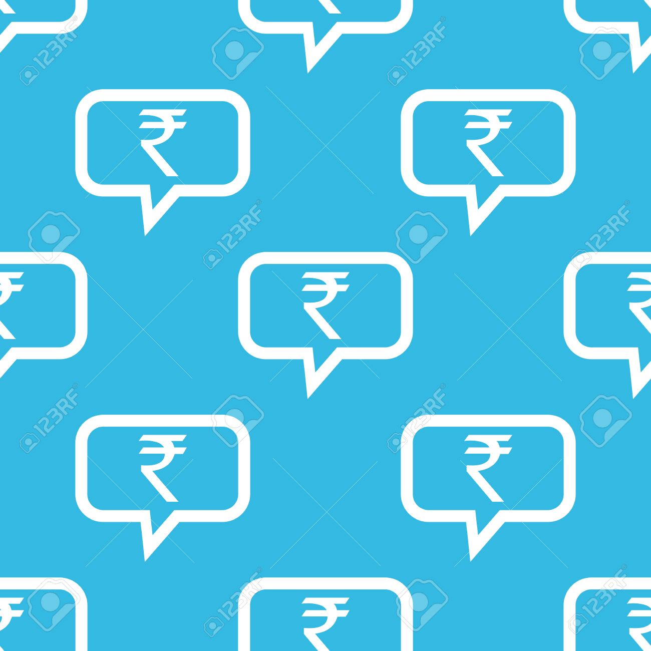 Indian Rupee Symbol In Chat Bubble Repeated On Blue Background