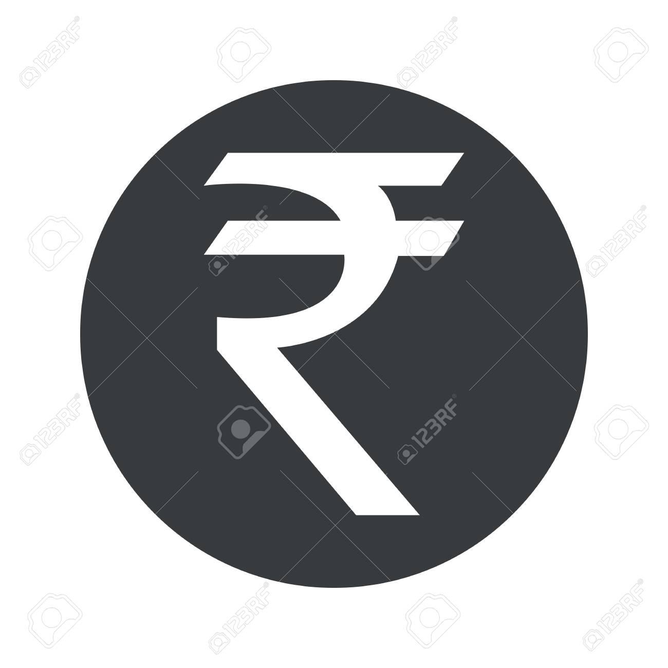 Indian Rupee Symbol In Black Circle Isolated On White Royalty Free