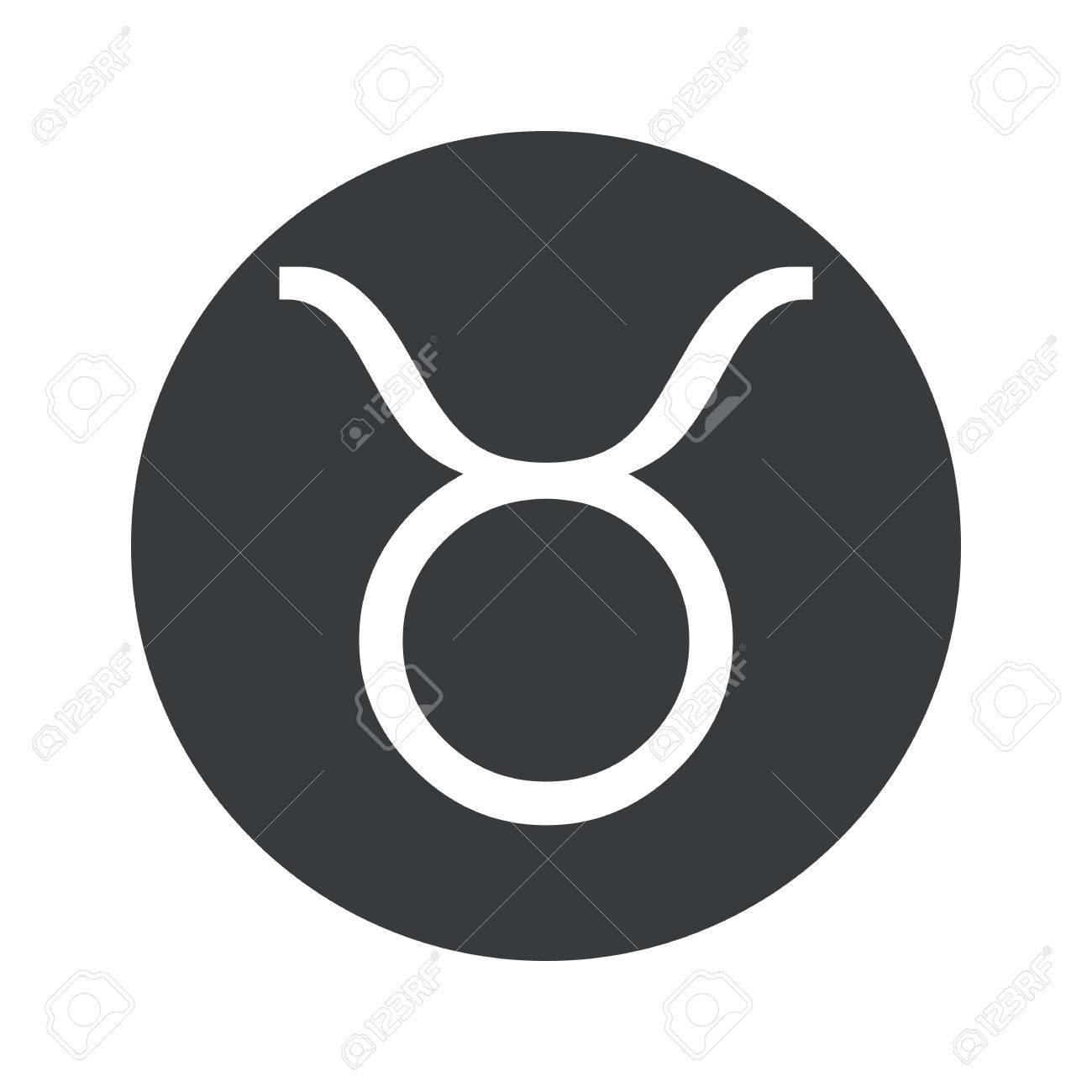 Image Of Taurus Zodiac Symbol In Black Circle Isolated On White