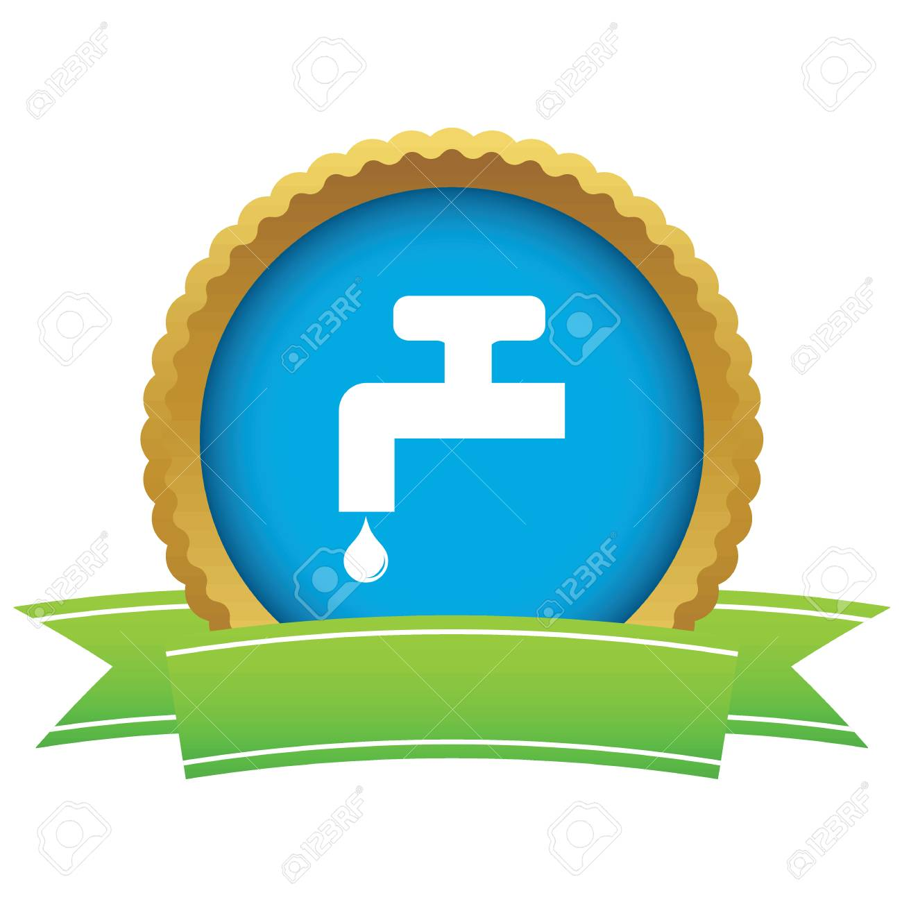 Certificate Seal With Image Of Tap And Water Drop Isolated On