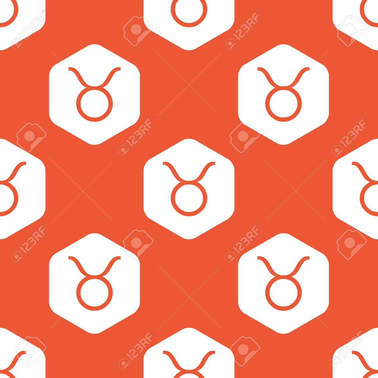 Image Of Taurus Zodiac Symbol In White Hexagon Repeated On Orange