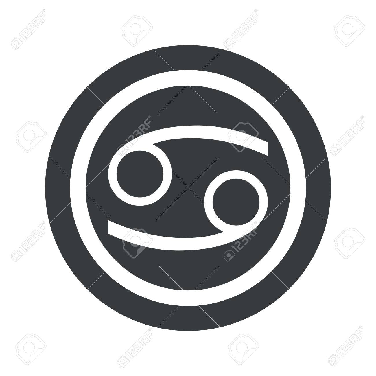 Image Of Cancer Zodiac Symbol In Circle On Black Circle Isolated