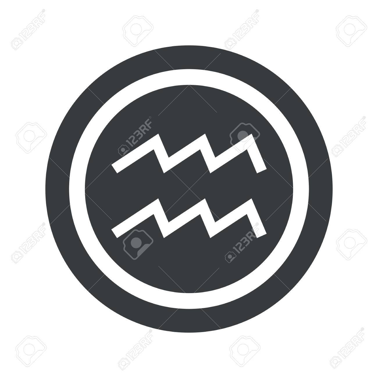 Image of aquarius zodiac symbol in circle on black circle image of aquarius zodiac symbol in circle on black circle isolated on white stock biocorpaavc Image collections