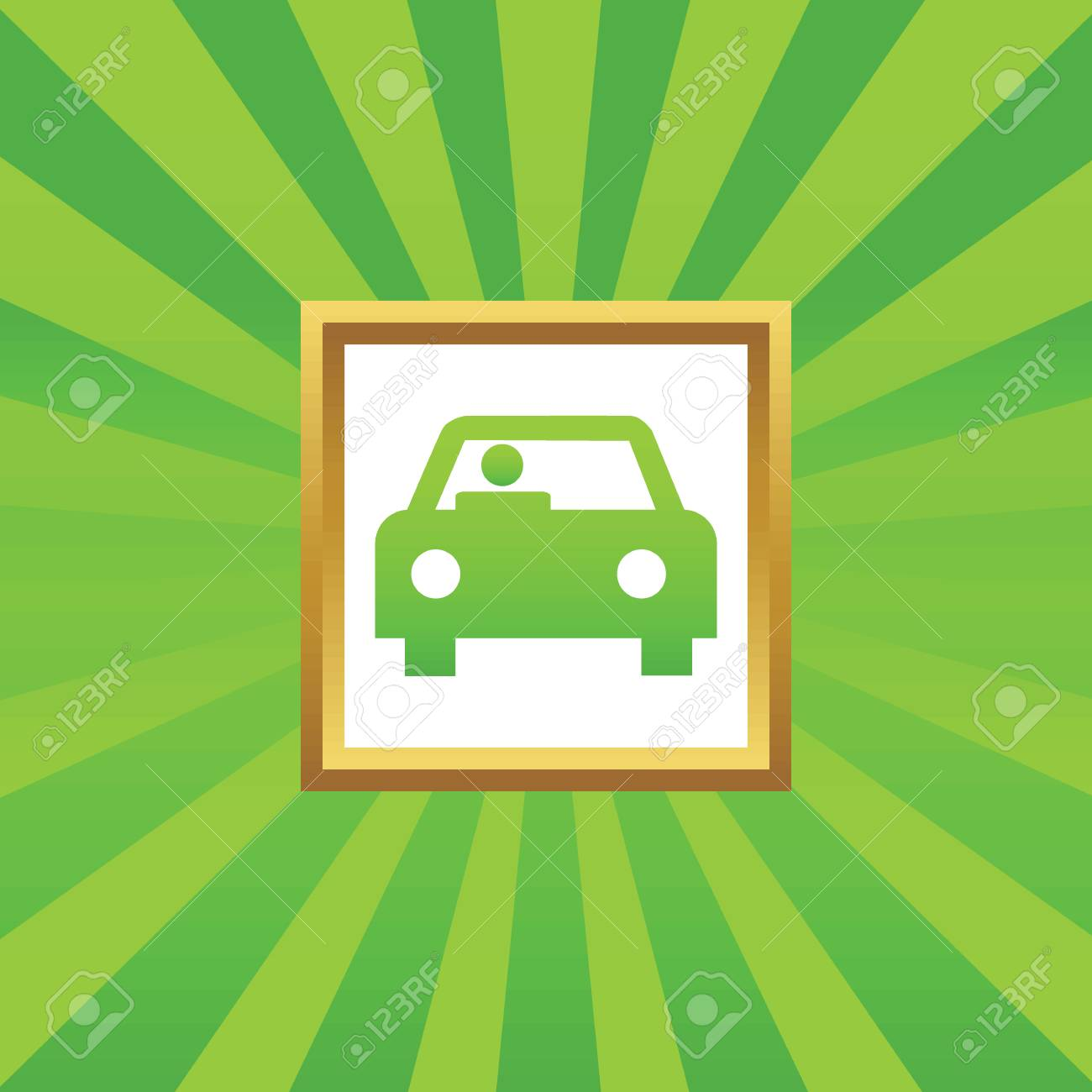 Bild Von Auto Mit Fahrer In Goldenen Rahmen, Auf Grün Abstrakten ...