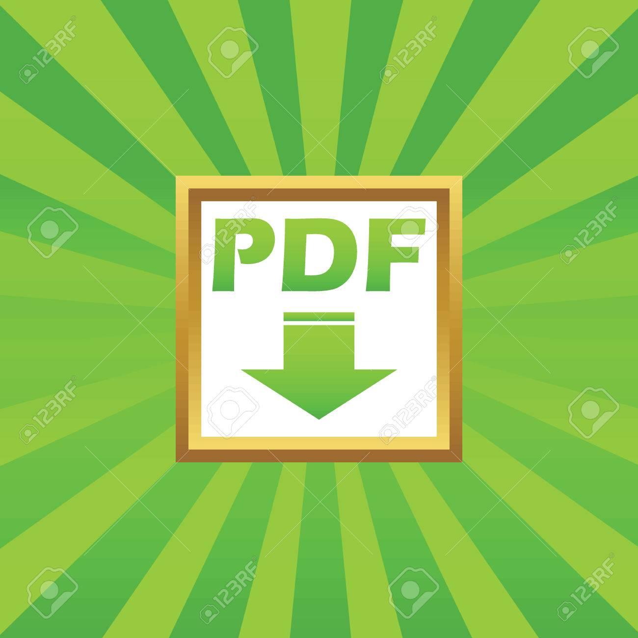 PDF Text Und Pfeil Nach Unten In Goldenen Rahmen, Auf Grün ...