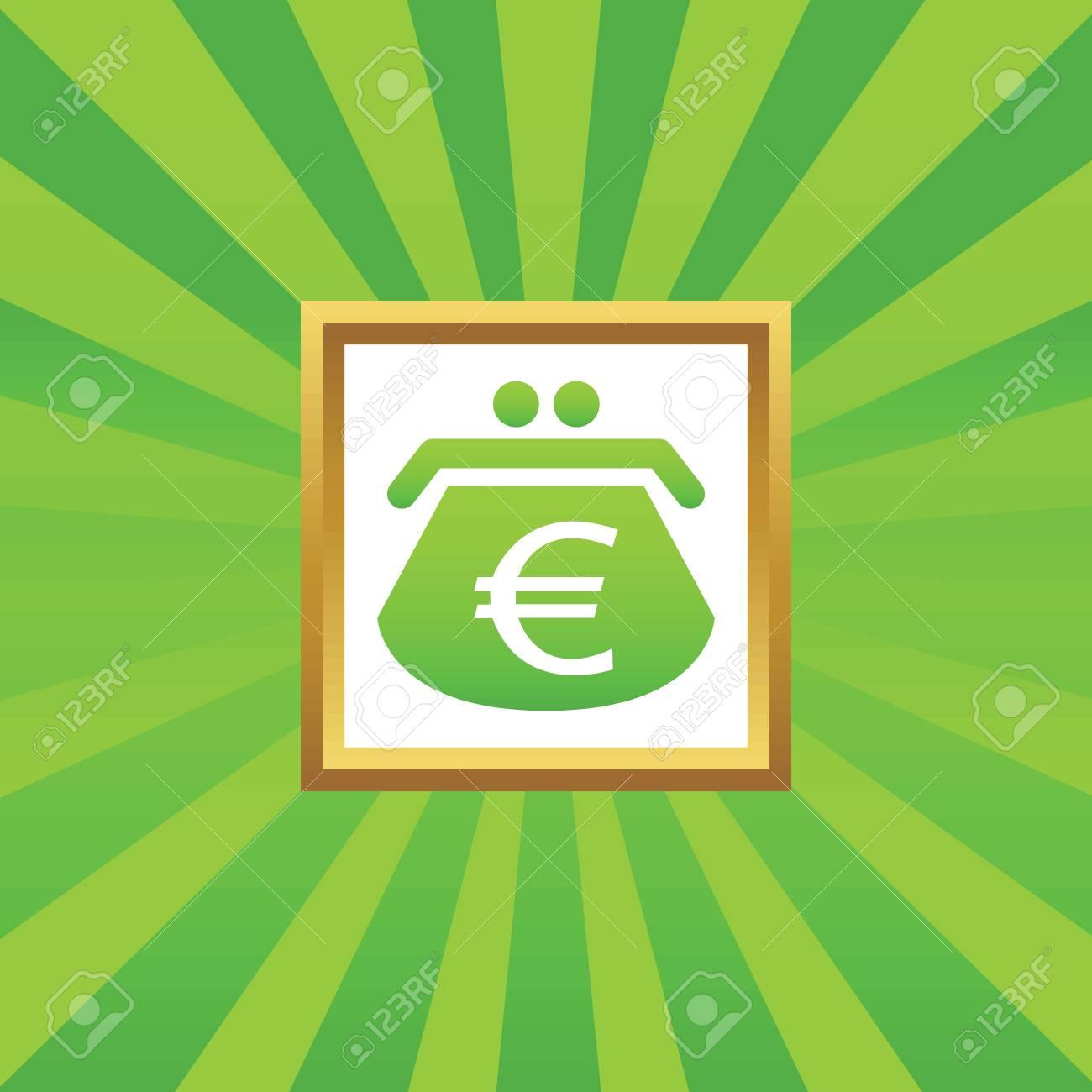 Bild Der Geldbörse Mit Euro-Symbol In Goldenen Rahmen, Auf Grün ...