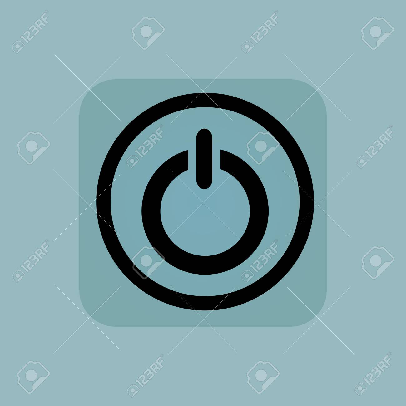 Power Symbol In Circle In Square On Pale Blue Background Royalty