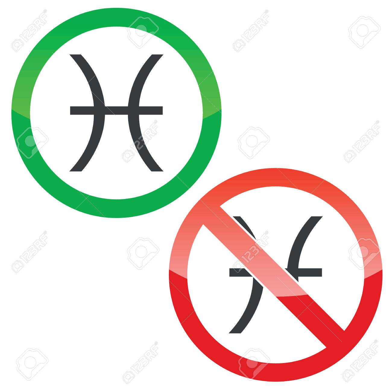 Allowed And Forbidden Signs With Pisces Zodiac Symbol Isolated On White Stock Vector