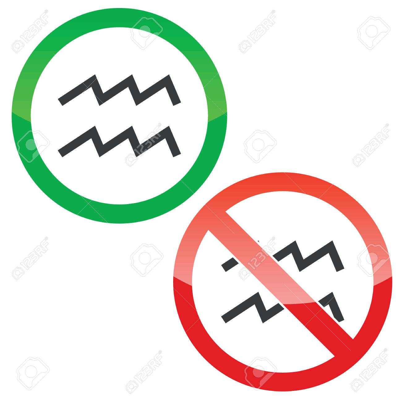 Allowed And Forbidden Signs With Aquarius Zodiac Symbol Isolated