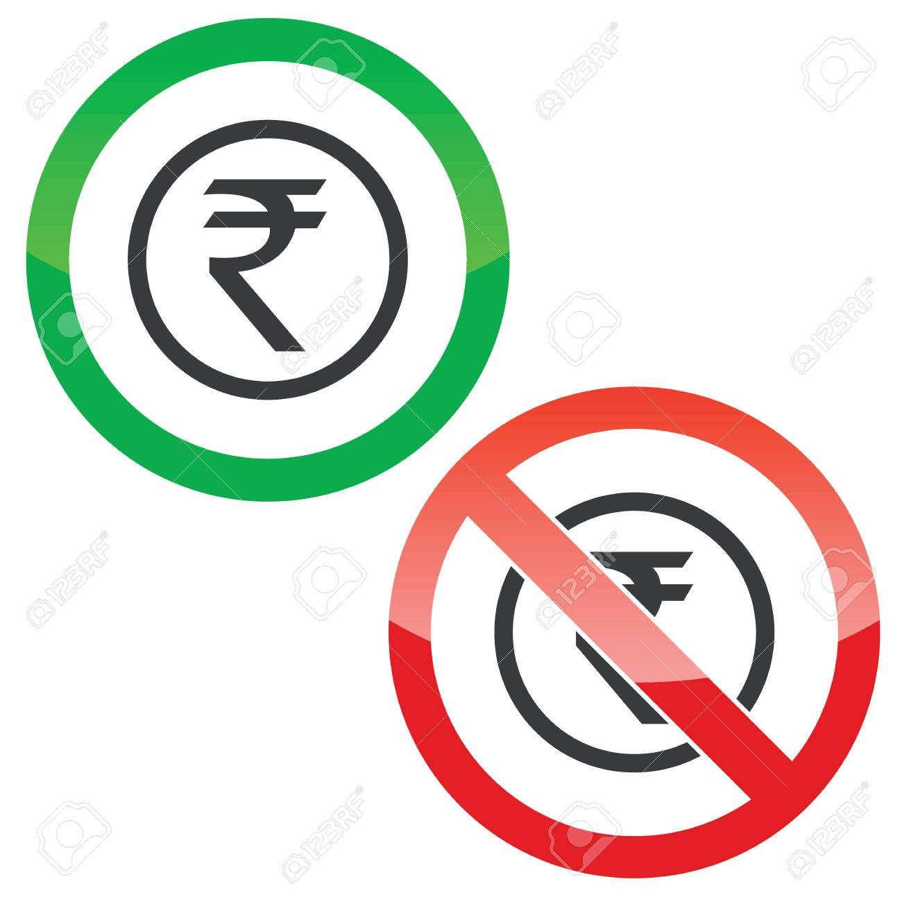 Allowed and forbidden signs with indian rupee symbol in circle allowed and forbidden signs with indian rupee symbol in circle isolated on white stock vector buycottarizona