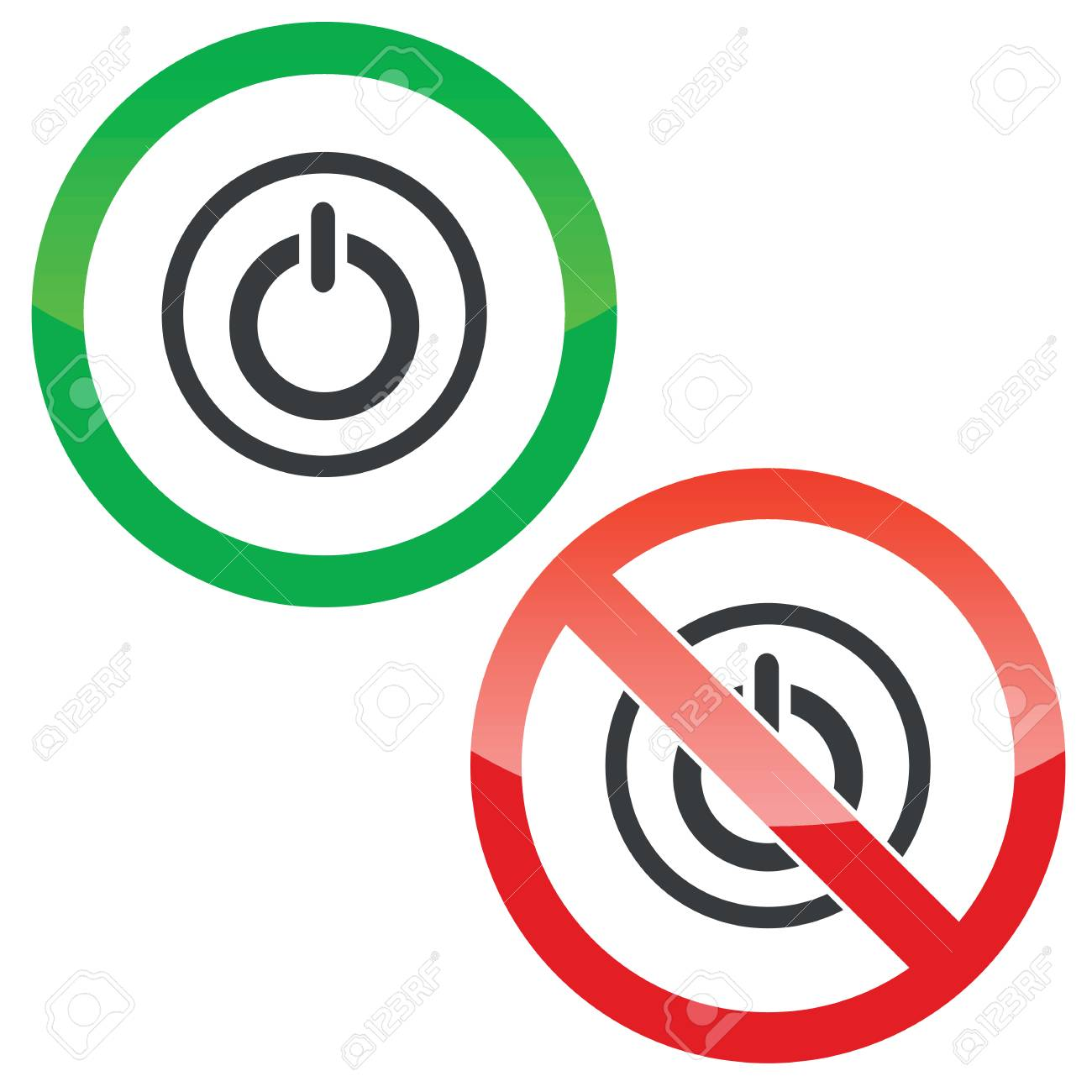 Allowed And Forbidden Signs With Power Symbol In Circle Isolated