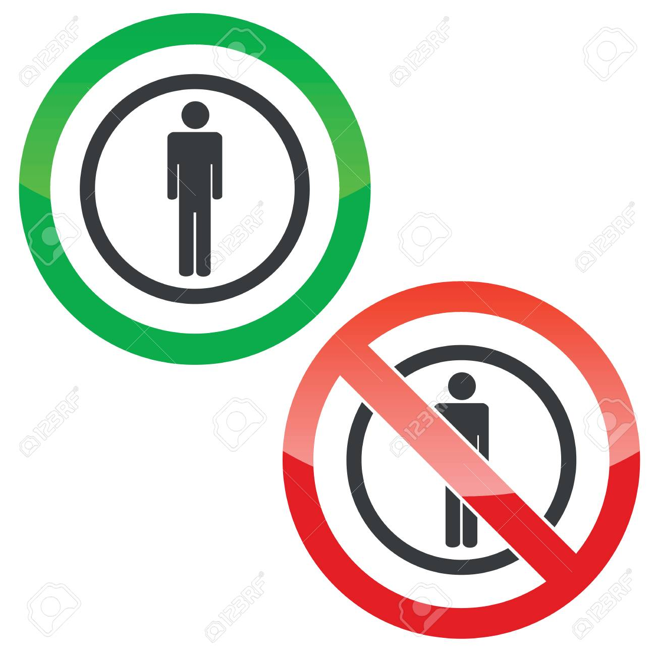 Allowed And Forbidden Signs With Man Symbol In Circle Isolated