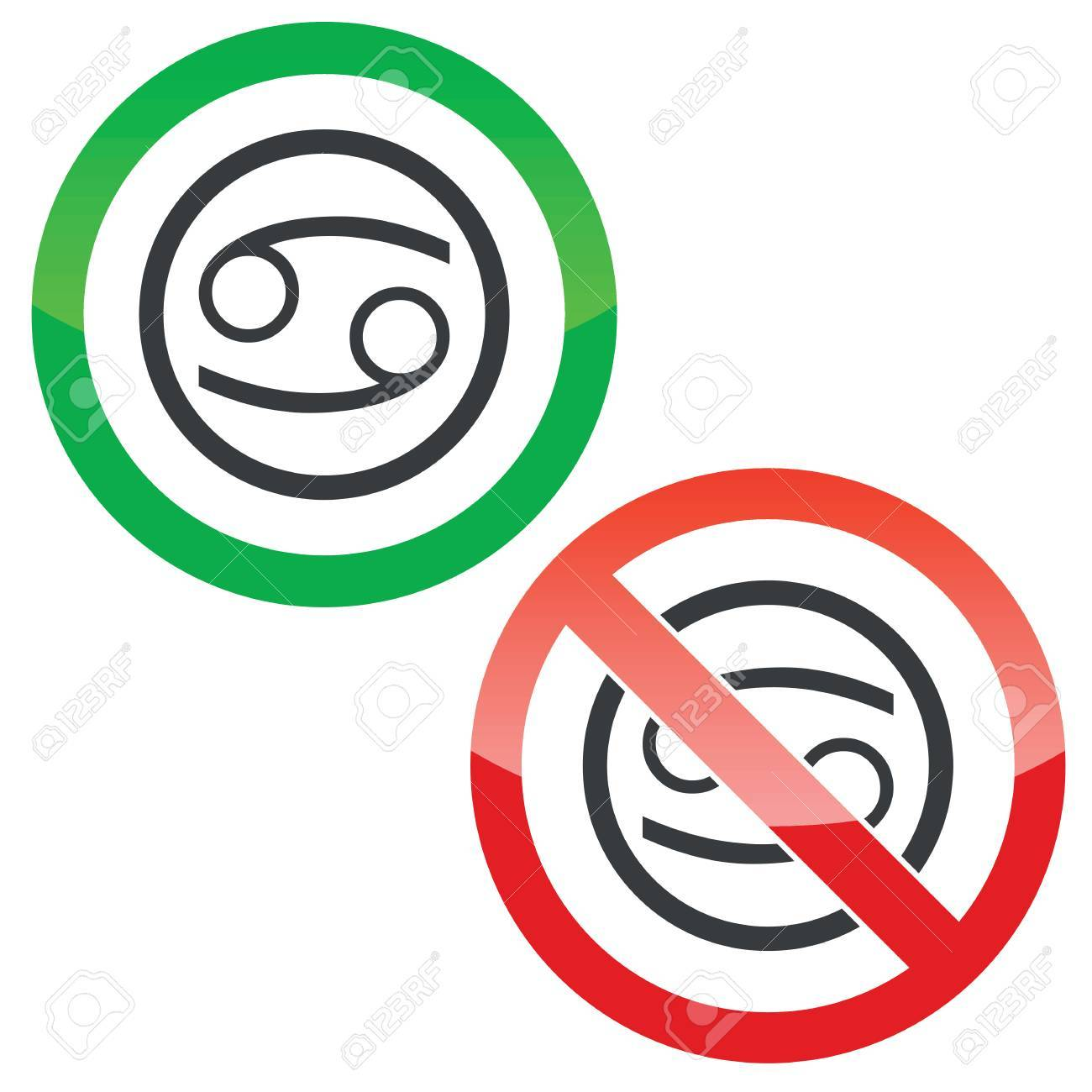 Allowed And Forbidden Signs With Cancer Zodiac Symbol In Circle