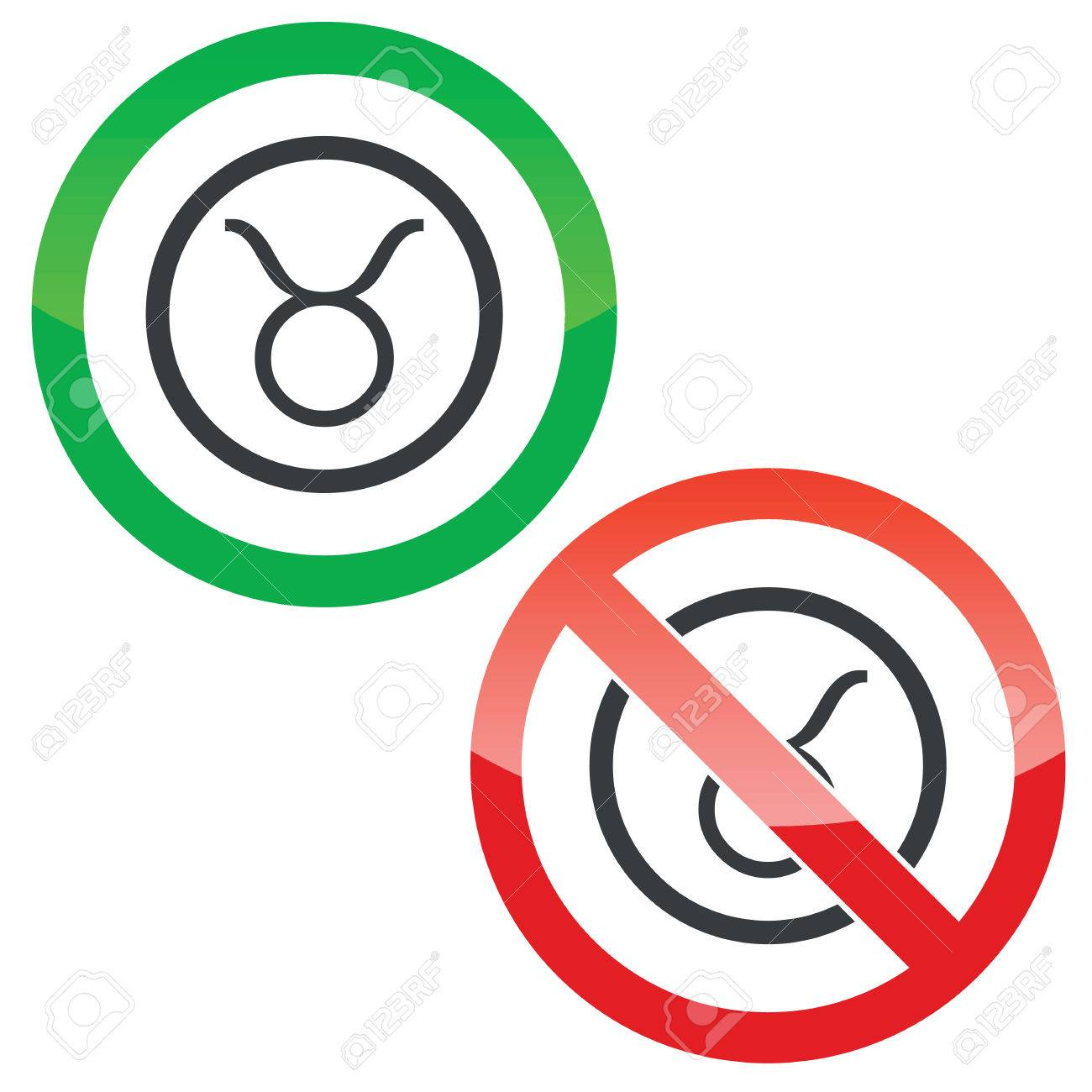 Allowed And Forbidden Signs With Taurus Zodiac Symbol In Circle