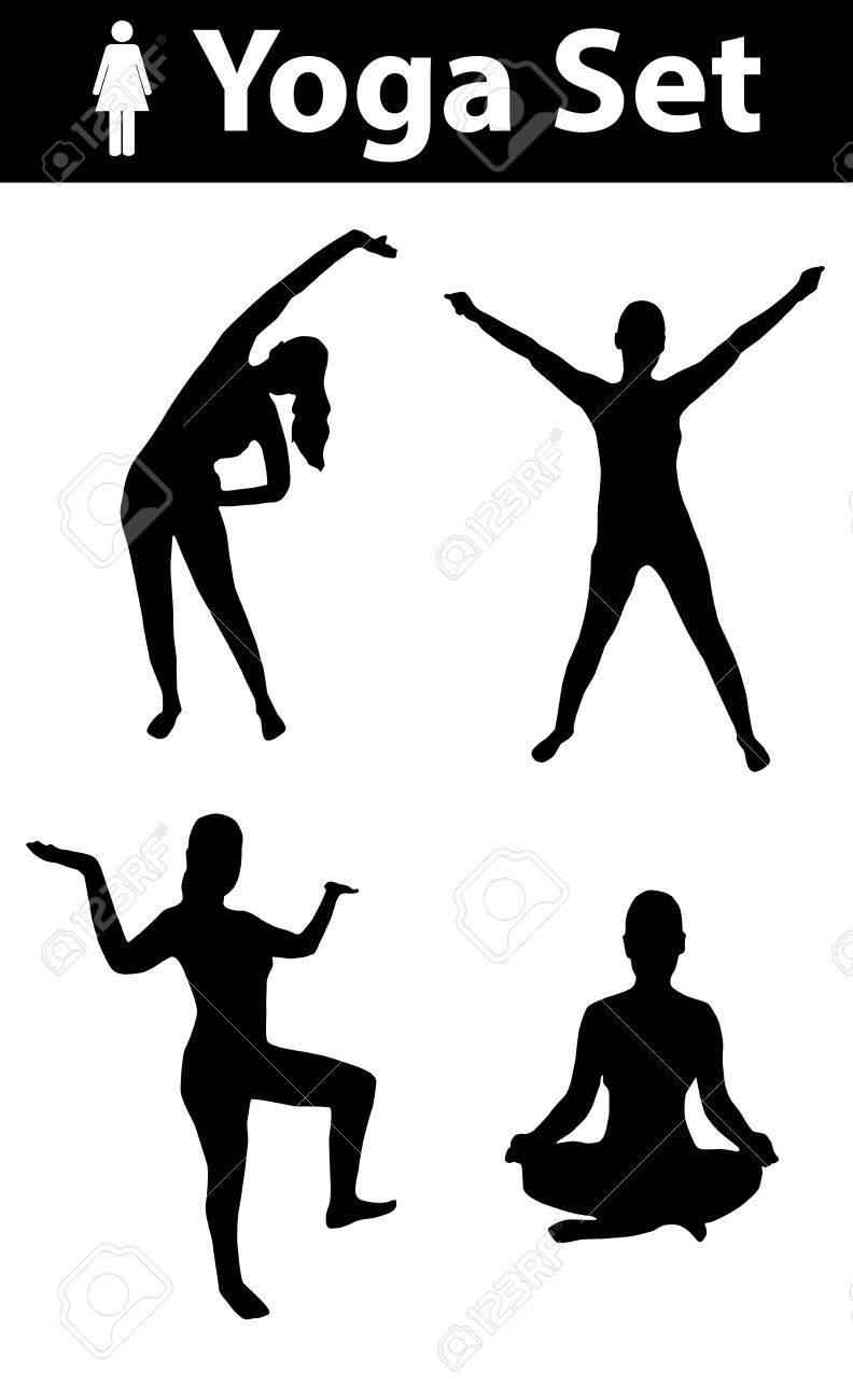 Yoga silhouette set, woman silhouette, yoga poses, black, on..