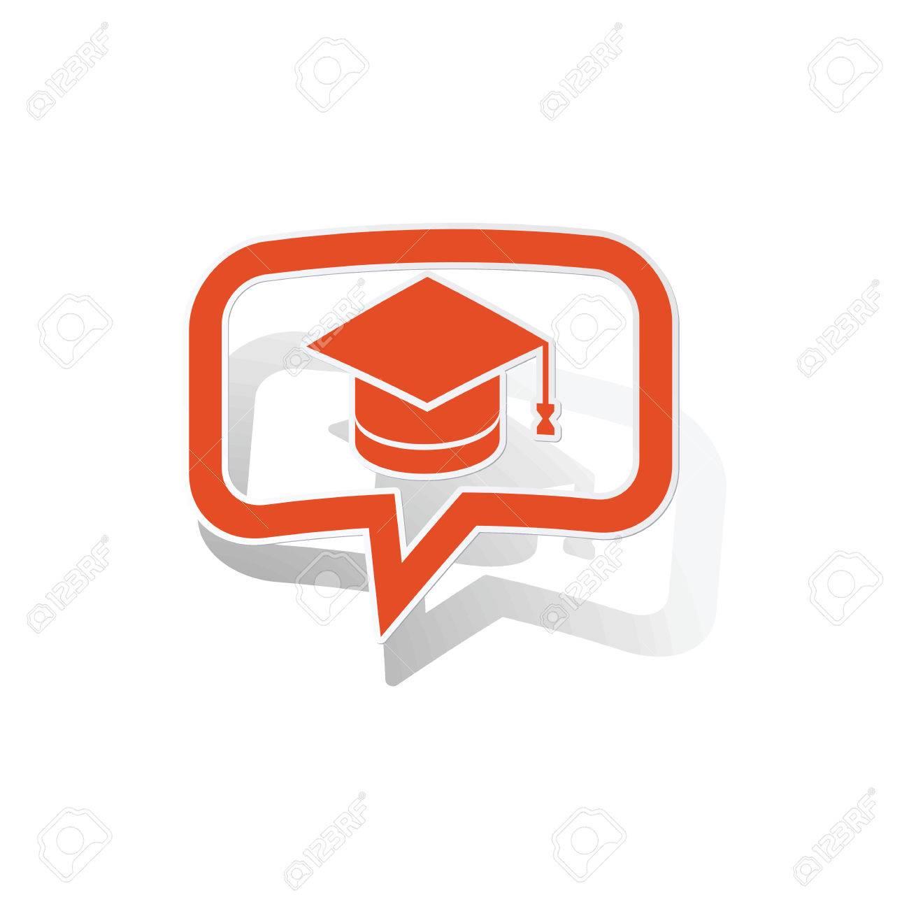 白い背景の上画像の内側で卒業メッセージ ステッカーオレンジ