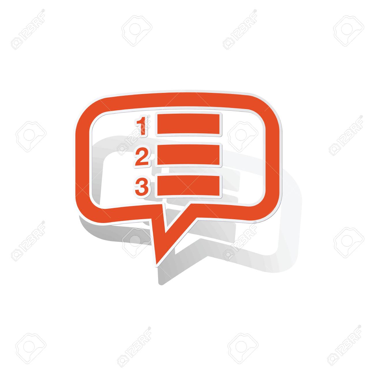 numbered list message sticker, orange chat bubble with image