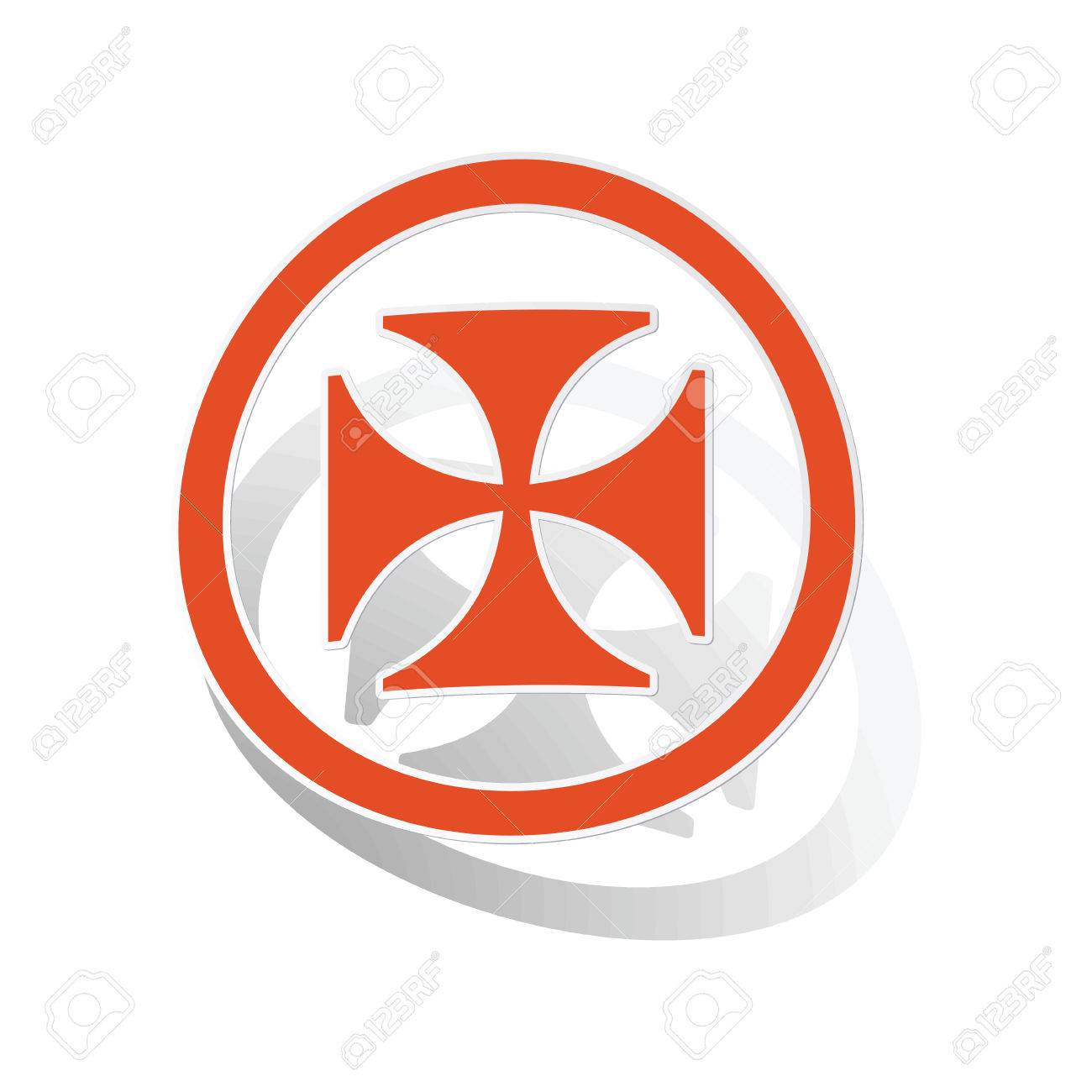 maltese cross sign sticker orange circle with image inside rh 123rf com