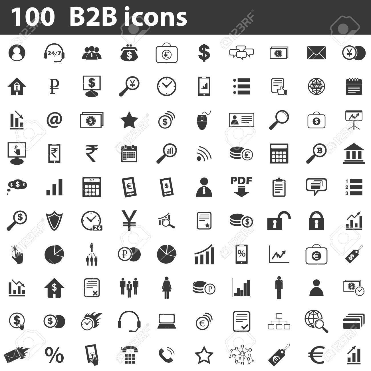 100 B2B icons set, simple black images on white background - 45632603