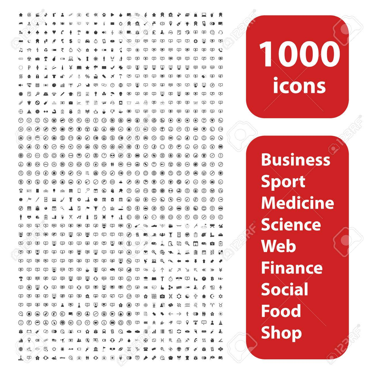 1000 icons set, different black signs and symbols on white background - 45632611