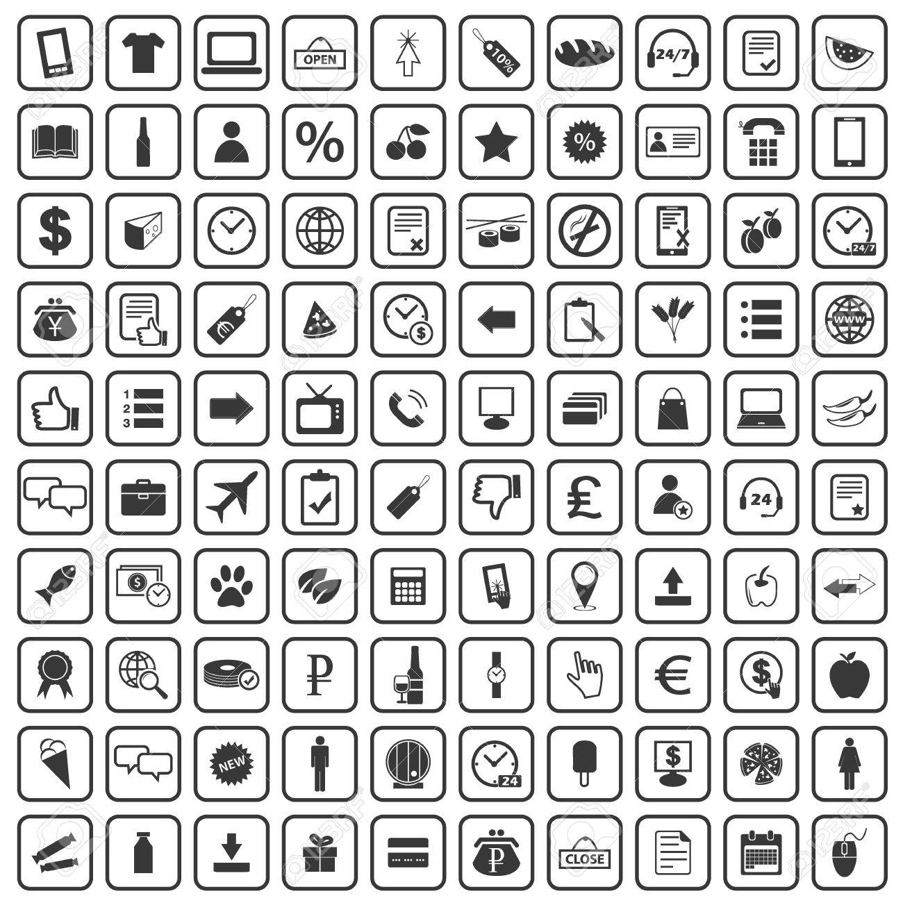 c052eafd 100 Shop icons set, simple black images on white background Stock Vector -  46912883
