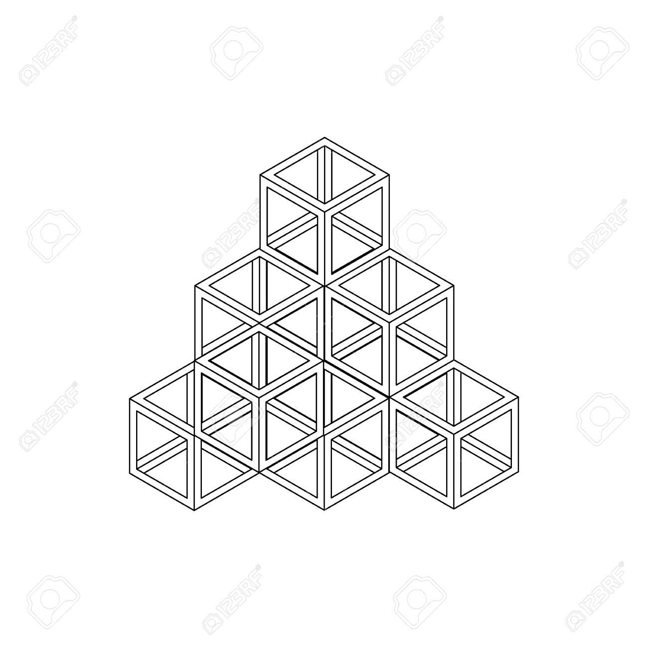 Cube Pyramid Icon In Isometric 3d Style Isolated On White Background ...