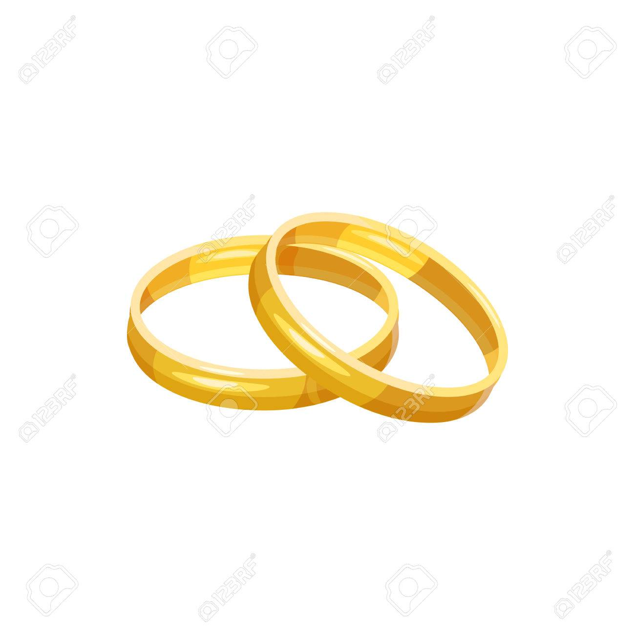 Wedding Rings Icon In Cartoon Style On A White Background Royalty
