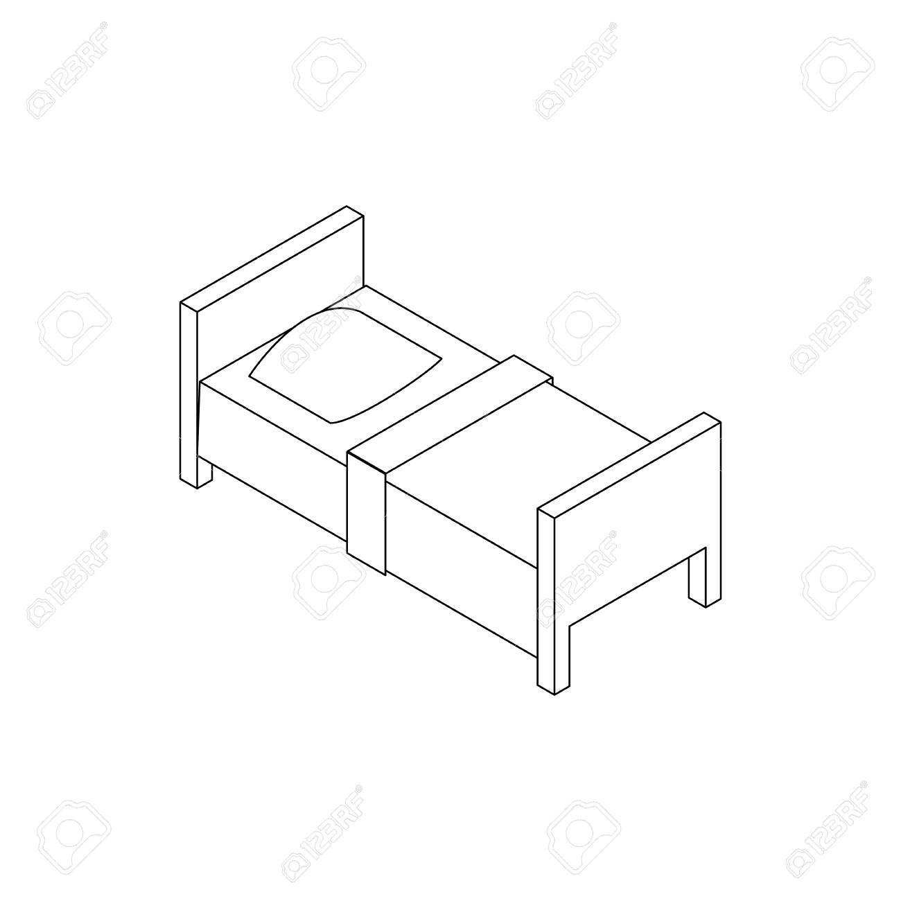 single bed icon in isometric 3d style isolated on white background stock vector